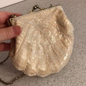 Ivory white bead evening bag clamshell La Regale
